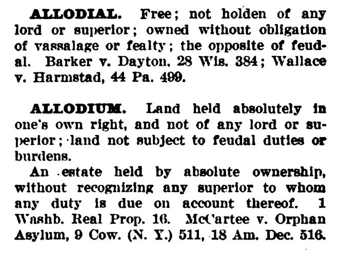 Allodial Defined Blacks Law 1910