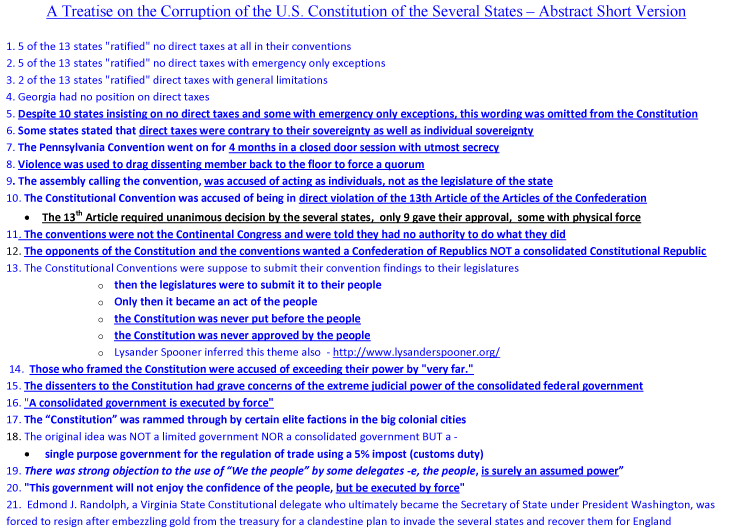 A Treatise on the Corruption of The US Constitutional Convention Abstract
