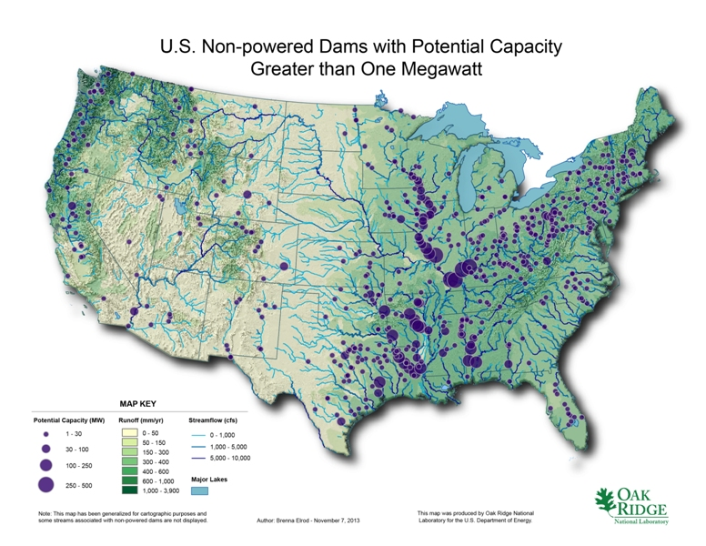 Dams Unpowered with Potential for 1 Megawatt