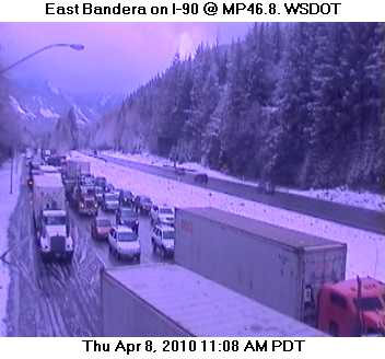 Traffic Jam I90 Snowqualamie Pass Winter
