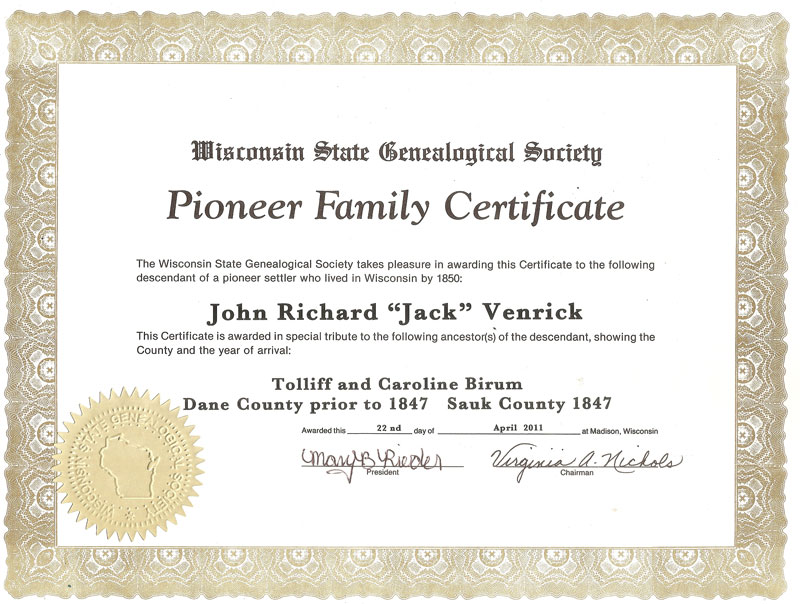 Jack Venrick Pioneer Family Wisconsin State