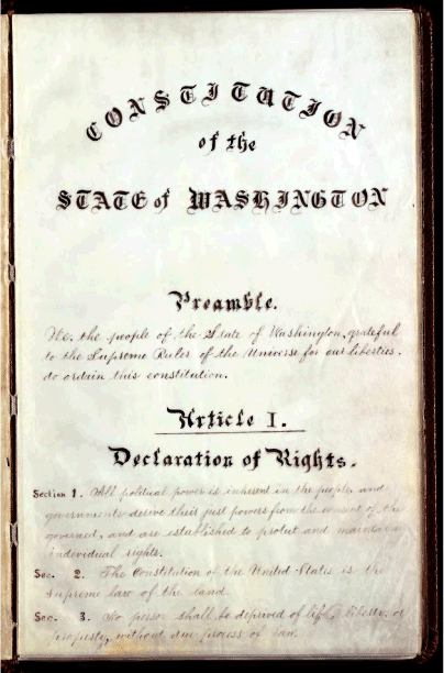 State of Washington 1889 Illegitimate Constitution