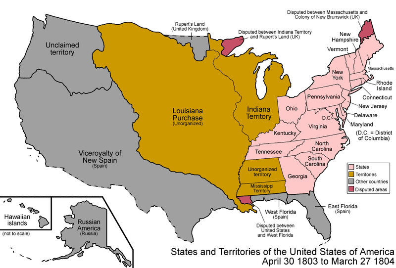 Map of US Territories 1803-1804