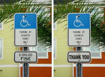 Disabled Parking Sign Voluntary vs. $100 Fine
