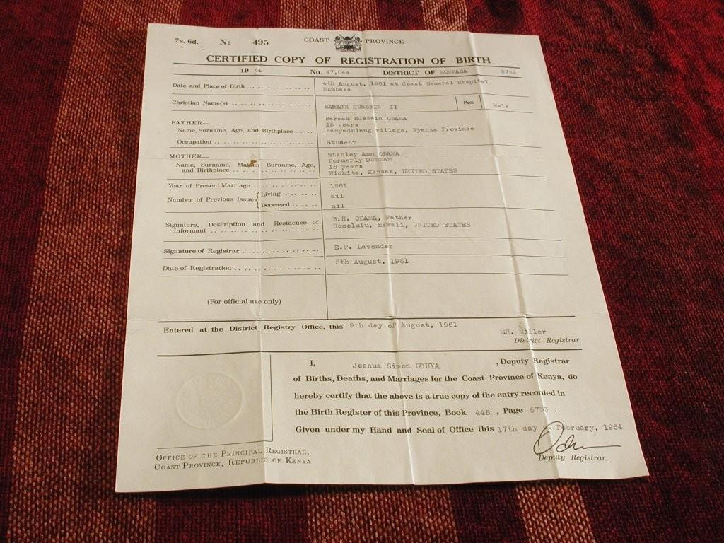 Obama Kenya Birth Certificate
